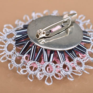 Handmade original textile woven tatting flower brooch of gray and pink colors