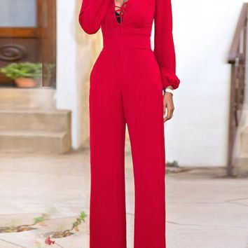 Red Drawstring Lace-up Pockets Sewing High Waisted Elegant Wide Leg Jumpsuit