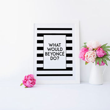 INSPIRATIONAL PRINT,What Would Beyonce Do,Motivational Quote,Chic poster,Fashionista,Fashion Decor,Typography Print,Wall Art,Printable Quote