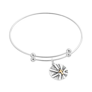 Sterling Silver Two Tone Cross ''Faith Hope Love'' Charm Bangle Bracelet