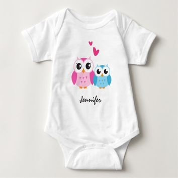 Cute cartoon owls with hearts personalized name baby bodysuit