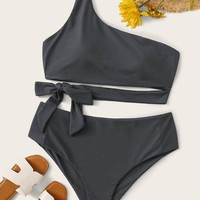 Plus Size Tie Waist One Shoulder Bikini Set
