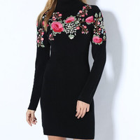 Embroidered Slim Knit Dress