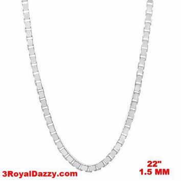"""Italy 14k white gold layered over Solid 925 sterling silver Box Chain- 1.5mm 22"""""""