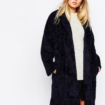 Whistles Sophie Cocoon Coat In Teddy Fur at asos.com