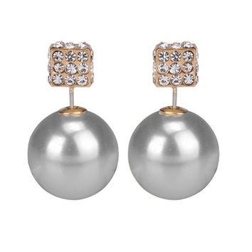 Pearl and Diamante Cube Double End Stud Earring -  Grey