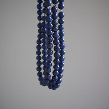 LAPIS. three strand lapis lazuli necklace with smoky quartz. rich cobalt blue. modern. gift for her.