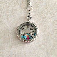 Frozen inspired Memory locket with crystas large stainless steel stainless steel and choice of chain