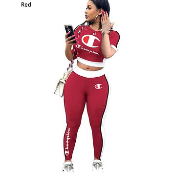 Champion Tide brand women's printed letter two-piece Red