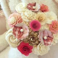 Anna's Custom Order :: 1 Medium Photo Flower Bouquet and 1 Small Photo Flower Bouquet :: Replace Photo's with Gold Rhinestone (ask Kati) :: Add Pearls to Center of Twisted Rose :: Scented with Japanese Cherry Blossom :: Bridal Wrap on Both