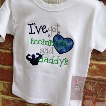 Boys shirt or bodysuit -- Funny shirt for Mother's Day and Father's Day -- I've got mommy's heart and daddy's muscles