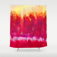 Red Trees Abstract Landscape Shower Curtain by Jennifer Warmuth Art And Design