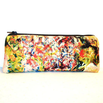 "Trippy Flower Painting Print Cotton Padded Pipe Pouch 7.5"" / Glass Pipe Case / Spoon Cozy / Piece Protector / Pipe Bag / LARGE"