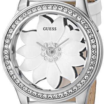 GUESS Women's U0534L1 White Floral Watch with Genuine Patent Leather Strap