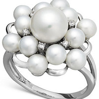 Sterling Silver Ring, Cultured Freshwater Pearl and Diamond Accent Ring