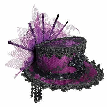Forum Novelties Women's Steampunk Victorian Mini Top Hat Costume Accessory, Purple, One Size:Amazon:Clothing
