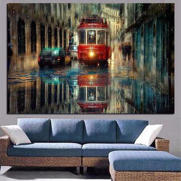 Retro Rain City Street Landscape Oil Painting on Canvas Poster Print Pop Art Modern Wall Picture for Living Room Cudros Decor