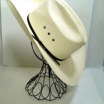Dress Straw Cowboy Hat White Straw Summer Cowboy Hat Resistol Size 7 1/2 Western Hat Wedding Cowboy Hat