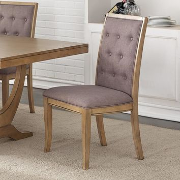 Birch Wood Button Tufted Dining Chair, Set Of 2,Brown And Gray
