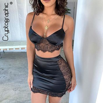 Cryptographic 2020 Spring Lace Satin Matching Sets Fashion Two Pieces Set Outfits Top and Skirt Set Solid High Waist Skirts New