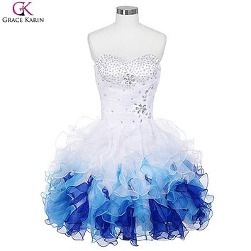 Short Prom Dresses 2017 Grace Karin Robe De Soiree Organza Blue Ombre Ball Gown Cheap Formal Party Dress Tutu Puffy Prom Dresses