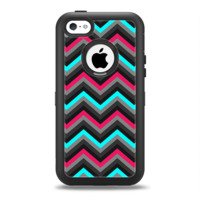 The Sharp Pink & Teal Chevron Pattern Apple iPhone 5c Otterbox Defender Case Skin Set