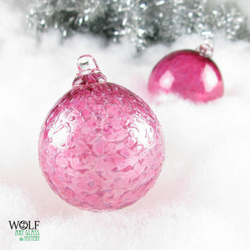 Glass Christmas Tree Ornament Blown Glass Suncatcher Holiday Bright Pink Fuchsia Ice