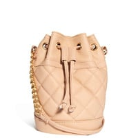 Cream Quilted Mini Bucket Bag with Chain