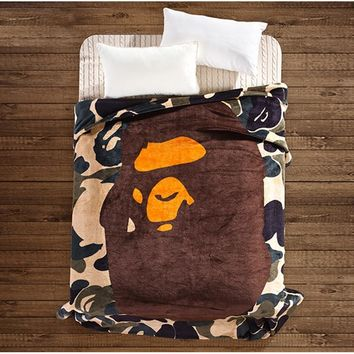 HCXX A Bathing Ape / Bape Coral Fleece Blanket on the bed Camouflage