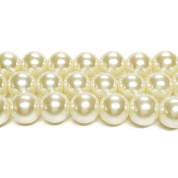 "Ivory 10mm Beads, 10mm Round Glass Pearl Bead, 10mm Glass Beads, 45 Pearls, Ivory Pearls, Round Beads, Loose Pearls, 16"" Strand of Pearls"