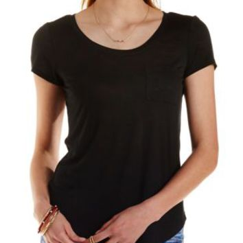 Slub Knit Boyfriend Pocket Tee by Charlotte Russe