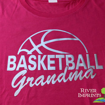 BASKETBALL GRANDMA cursive, shiny foil t-shirt with your choice of color-- fitted, regular, or long sleeve