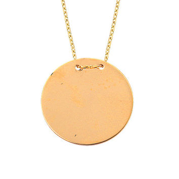 Disc Name Tag 14k Solid Gold Necklace