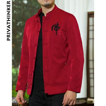 Trendy Sinicism Store INS Men Clothes 2018 Mens Cotton And Linen Embroidery Causal Red Jacket And Coat Male Chinese Style Windbreaker AT_94_13
