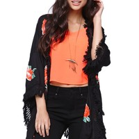 Element Rosa Floral Kimono - Womens Shirts - Black