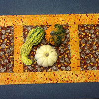 Quilted Thanksgiving Table Runner, Autumn Table Topper, Harvest Table Runner, Quiltsy Handmade