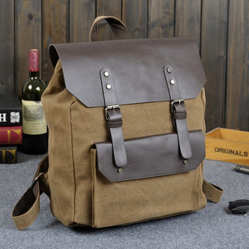 leather canvas patchwork laptop backpack