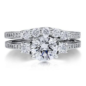 A Perfect 1.6CT Three Stone Journey Russian Lab Diamond Bridal Set Ring