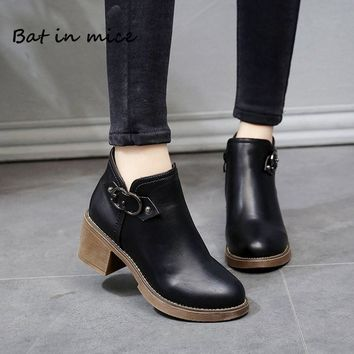 Winter pumps Women casual warm Western Ankle Boots Shoes Women Waterproof high heels Snow Martin Boots shoes Botas mujer W420