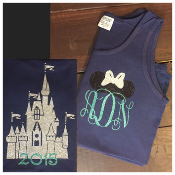 Castle Disney Tank - Minnie Ears Monogram - Navy and Mint Glitter Vinyl - Comfort Color - Tank - Tee - Long Sleeve - Disney - Disney Shirt