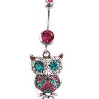 Morbid Metals 14G Magenta Turquoise Owl Navel Barbell