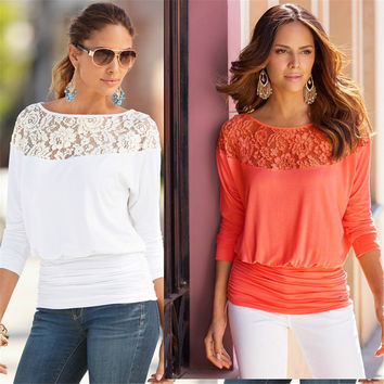 Autumn New Fashion 3/4 Sleeve O-neck Lace Patchwork Solid Blouses Tops Women Clothing