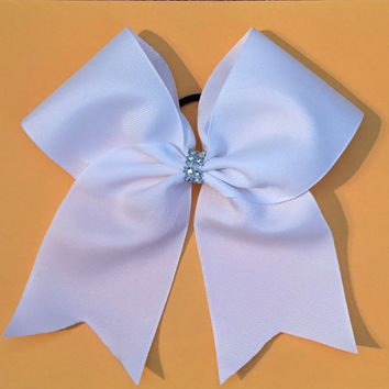 Cheer Bow super cute simple white sparkle center