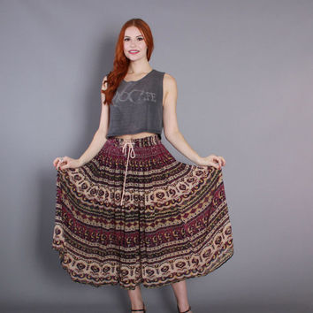 70s GAUZE Ethnic India SKIRT / 1970s Purple Floral Print Indian Midi, osfm