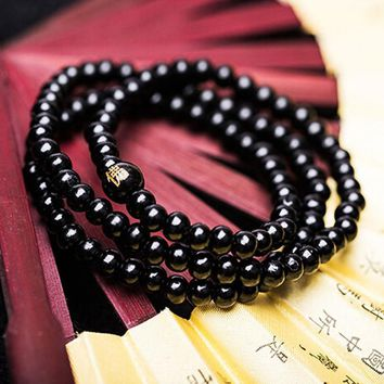 Sandalwood Beads Rope Bracelet Buddhist Buddha Meditation  Prayer Color Black Red