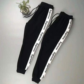 DCCKB62 Supreme Men Fashion Casual Pants Print Trousers Sweatpants White Stripe G -CN-CFPFGYS