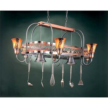 Hi-Lite H-12Y-D-11/24-BRN-ODYSEE Eight-Light Pot Rack