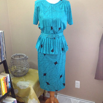 Vintage 1980s Dress Cinnamon Stick by California Secretary Dress, Peplum mock top, original belt