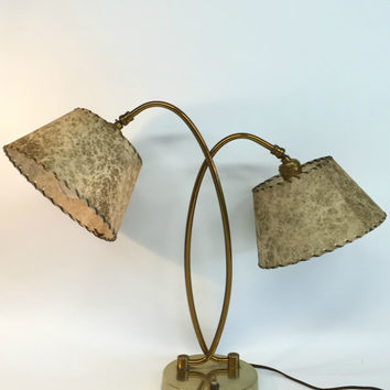 Mid Century Modern Lamp, Mid Century Lamp, Antique Desk Lamp, Mid Century Table Lamp, Mad Men Decor, Fiberglass Shade, Brass Table Lamp