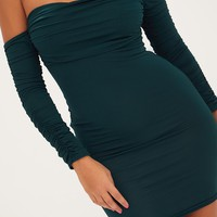 Emerald Green Ruched Front Ruched Arm Bandeau Bodycon Dress